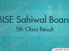 Sahiwal Board 5th Class Result 2018