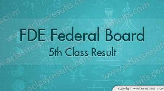 Federal Board 5th Class Result 2018