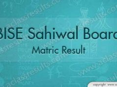 Sahiwal Board Matric Result 2018